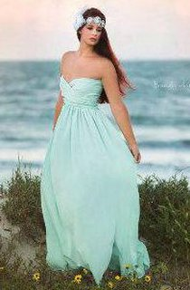 Strapless Sweetheart A-line Pleated Chiffon Long Dress With Ruching