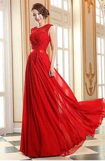 Sexy A-line Jewel Chiffon Prom Dress Lace Appliques