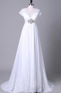 Tea-Length Off-The-Shoulder One-Shoulder V-Neck Beading Chiffon Lace Sequins Satin Dress
