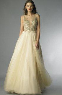 A-line Floor-length Bateau Sleeveless Tulle Low-V Back Dress