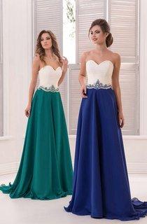 A-Line Sweep Sweetheart Sleeveless Chiffon Appliques Pleats Zipper Dress