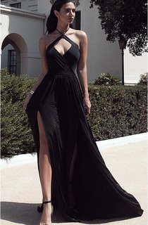 Chic Halter Chiffon 2016 Prom Dress Front Split Open Back