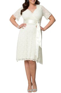 Short Sleeve A-Line Queen Anne Neck Lace Dress With Satin Waistband