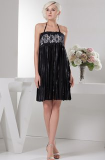 Sleeveless Short Fitted Halter and Dress With Lace