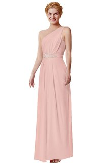 Long Beaded One-Shoulder Chiffon Dress
