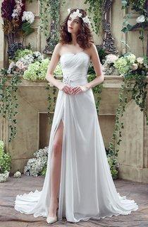 Sexy Front Split White Wedding Dress 2016 Beadings Sweetheart Sleeveless