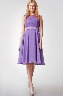 Cap-sleeved Bateau Neck Knee Length Chiffon Dress With Lace Bodice