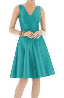V-neck Short Satin A-line Bridesmaid Dress