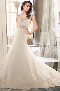 Queen Anne Neck Beaded Wedding Dress With Chapel Train