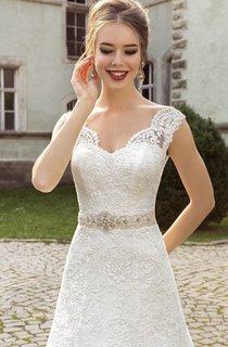 V-neck Appliques Lace Corset Back Dress With Crystal Detailing