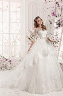 Bateau Neck Half Sleeve A-line Organza Wedding Dress With Lace Bodice