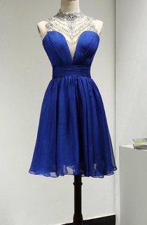 Crystal High Neck Sleeveless A-line Chiffon Knee Length Dress With Keyhole