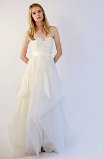 Organza Sweetheart A-Line Dress Wit Lace Bodice and Ruffled Skirt