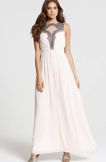 A-Line Modest Long Chiffon Dress With Elastic Back