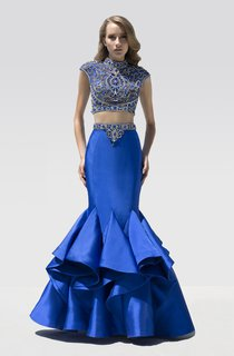 Mermaid Floor-Length High Neck Cap-Sleeve Satin Draping Beading Dress