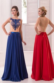 A-Line Floor-Length Sweep Jewel Sleeveless Chiffon Beading Pleats Button Dress