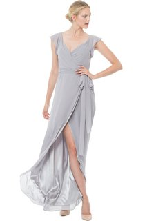 Long-Chiffon V-Neck Cap-Sleeved Dress With Split Front