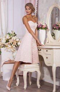 A-Line Knee-Length Sweetheart Sleeveless Lace Pleats Beading Zipper Dress