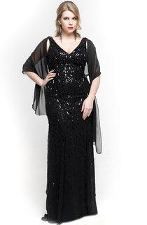 V Neck Straps Sheath Beaded Long Dress With Chiffon Cape