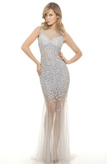 Mermaid Floor-Length Scoop-Neck Sleeveless Tulle Sequins Beading Illusion Dress
