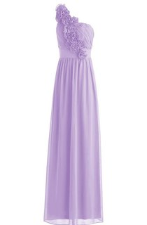 One-shoulder Chiffon Dress With Flowers and Pleats