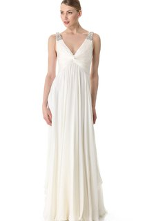 Long Deep-V Neckline Empire Chiffon Dress With Broad Straps