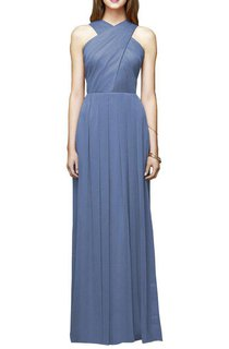 Pleated Long Bridesmaid Dress