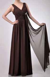 Charming Floor-length V-Neckline Empire Chiffon Bridesmaid Dress With Watteau Train