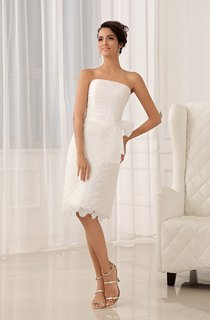 Strapless Tea-Length Dress With Flower and Lace Appliques
