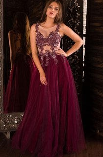 A-Line Floor-Length Jewel Sleeveless Tulle Beading Appliques Lace-Up Dress