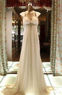 Floor-Length Cap Beading Zipper Corset Back Chiffon Lace Dress