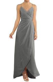 Spagetti Straps Wrap Ruched Chiffon Dress