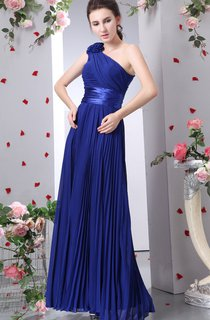 Chiffon Maxi Dress With Allover Ruching and Flower