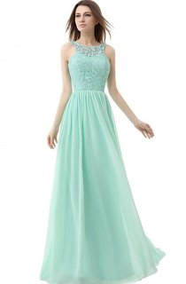 High-neck Long Gown With Lace Detail Bodice