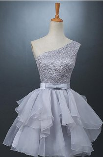 Lovely One-shoulder Short Chiffon Homecoming Dress Lace-up With Bowknot