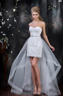 Pencil Short Sweetheart Sleeveless Lace-Up Lace Dress With Appliques And Draping