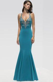 Mermaid Floor-Length Straps Sleeveless Jersey Beading Dress