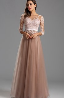 Empire Floor-Length Bateau 3 Empire Tulle Appliques Zipper Dress