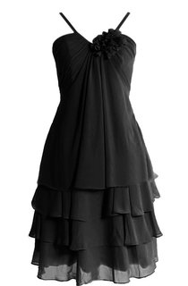 Sleeveless Short Tiered Chiffon Dress With Spaghetti Straps