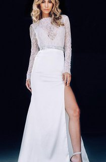Sexy Lace White Mermaid 2016 Prom Dress Front Split Beadings