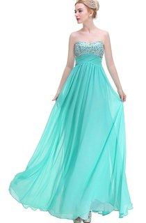 Stunning A-line Sweetheart Sequined Long Chiffon Dress