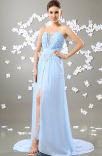 Chiffon Sweetheart Dress With Front-Split and Beading