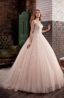 Ball Gown Maxi Square Sleeveless Deep-V-Back Tulle Dress With Appliques