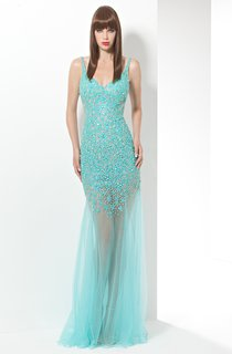 Sheath Floor-Length Spaghetti Sleeveless Tulle Beading Deep-V Back Dress