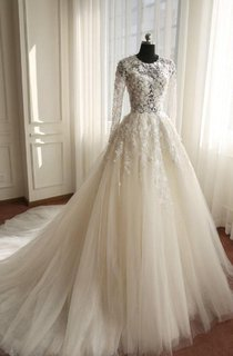 A-Line Long Sleeve Bell Beading Appliques Zipper Keyhole Tulle Lace Dress