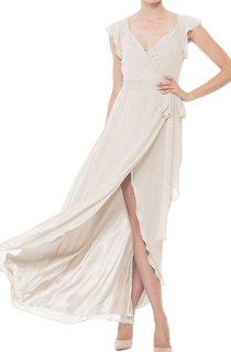 Falbala V-neck Wrap Chiffon Dress with Front Split