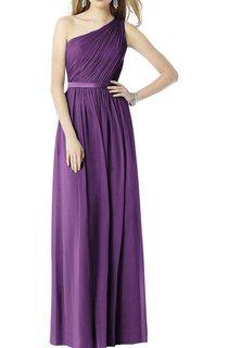 Ruched One Shoulder Chiffon Long Bridesmaid Dress