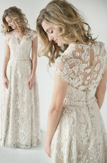 A-Line Empire Short V-Neck Bell Cap Empire Draping Beading Appliques Sweep Train Button Lace Dress