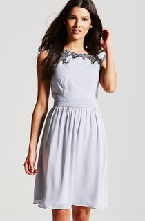 Chiffon Knee-Length A-Line Dress With Beading Details