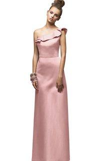 Magnificent One-Shoulder Floor-Length Satin Dress